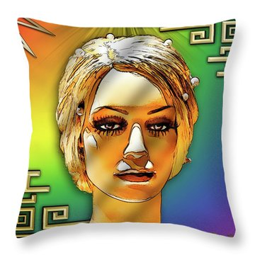 Throw Pillow featuring the digital art Luna Loves Deco by Chuck Staley