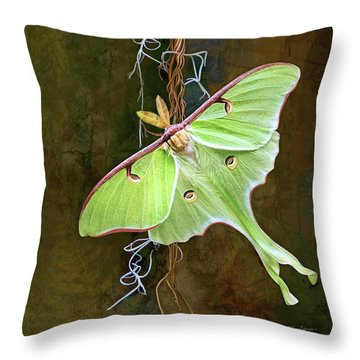 Throw Pillow featuring the digital art Luna Moth by Thanh Thuy Nguyen