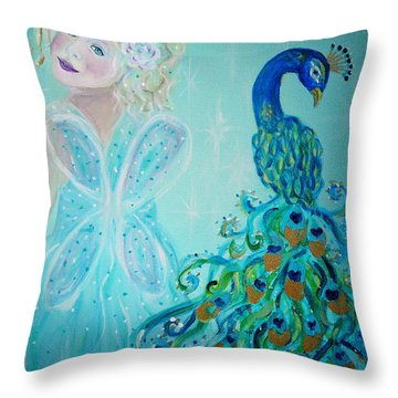Luna Shows Her Feathers Throw Pillow by The Art With A Heart By Charlotte Phillips