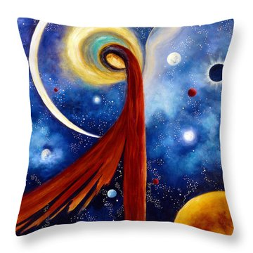 Lunar Angel Throw Pillow by Marina Petro