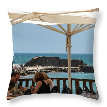 Throw Pillow featuring the photograph Lunch At The Mediterranean by Mae Wertz