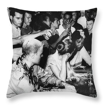 Lunch Counter Sit-in, 1963 Throw Pillow by Granger