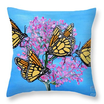 Butterfly Feeding Frenzy Throw Pillow