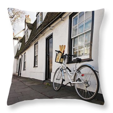 Throw Pillow featuring the photograph Lunch French Style By Bicycle In Cambridge by Gill Billington