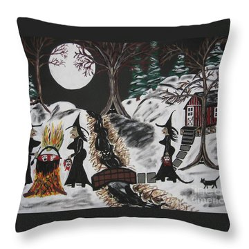 Throw Pillow featuring the painting Lunch by Jeffrey Koss