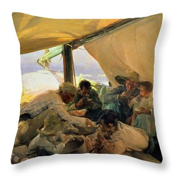 Lunch On The Boat Throw Pillow by Joaquin Sorolla y Bastida