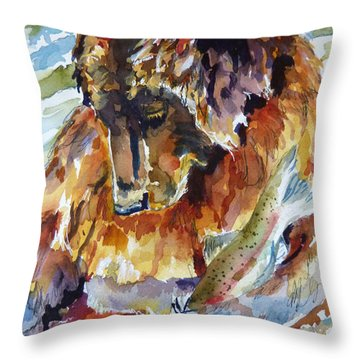 Throw Pillow featuring the painting lunch Soak and a Nap Heaven by P Maure Bausch