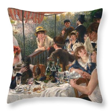 Luncheon Of The Boating Party By Renoir Throw Pillow