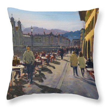 Lunchtime In Luzern Throw Pillow