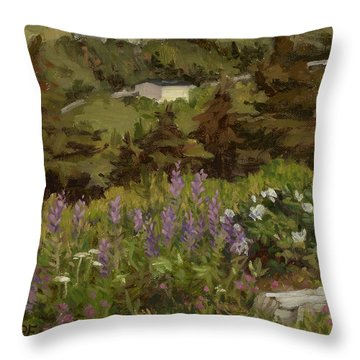 Lupine And Wild Roses Throw Pillow
