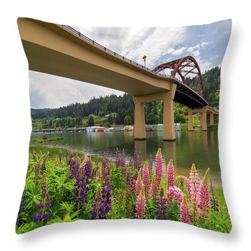 Lupine In Bloom By Sauvie Island Bridge Throw Pillow by David Gn