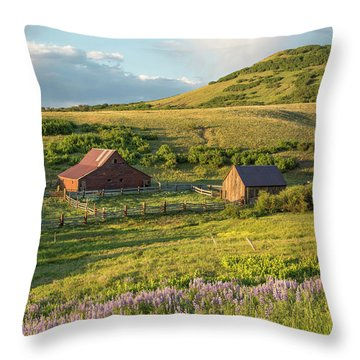 Lupine In The Field Throw Pillow