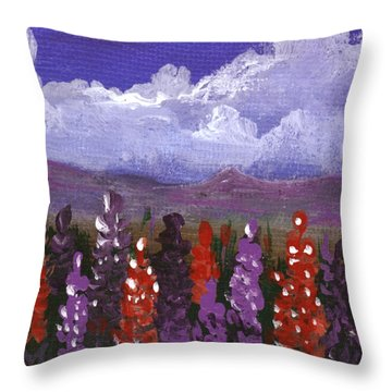 Throw Pillow featuring the painting Lupine Land #1 by Anastasiya Malakhova
