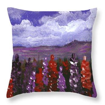 Throw Pillow featuring the painting Lupine Land #2 by Anastasiya Malakhova