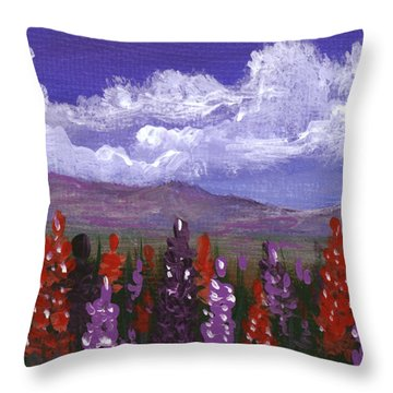 Throw Pillow featuring the painting Lupine Land #3 by Anastasiya Malakhova