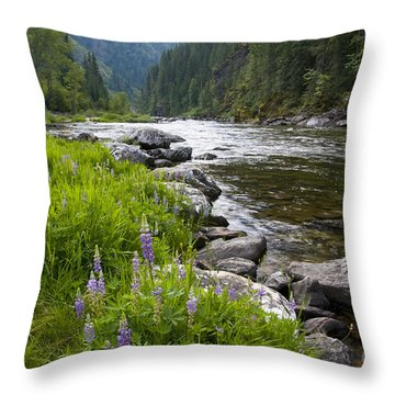 Lupines At Dawn Throw Pillow