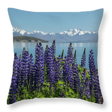 Lupines At Lake Tekapo Throw Pillow