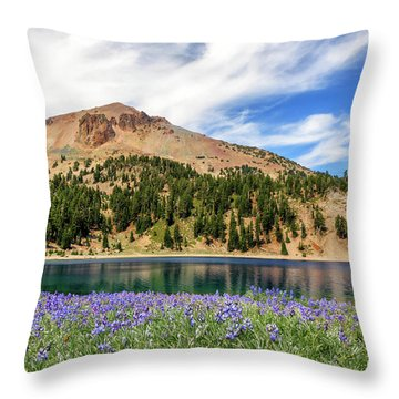 Lupines Lake And Lassen Throw Pillow