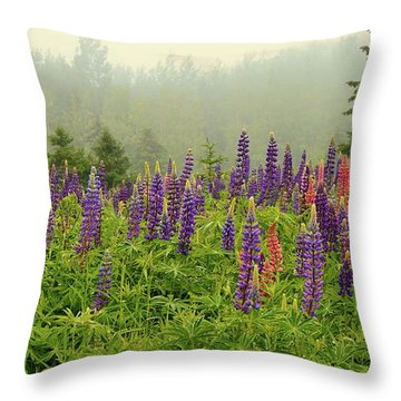 Lupins In The Mist Throw Pillow