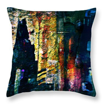 Luray Caverns Abstract Blue Throw Pillow by Lynda Payton