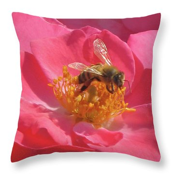 Throw Pillow featuring the photograph Luscious Rose With A Bee by Nancy Lee Moran