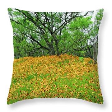 Lush Coreopsis Throw Pillow