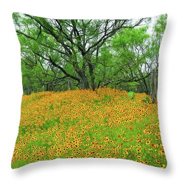 Lush Coreopsis Throw Pillow