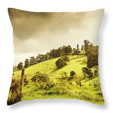 Lush Green Country Farmland Throw Pillow