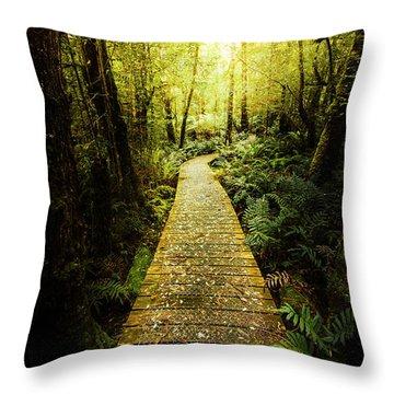 Lush Green Rainforest Walk Throw Pillow
