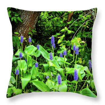 Throw Pillow featuring the photograph Lush Purple Flowers In The Woods by Dennis Dame