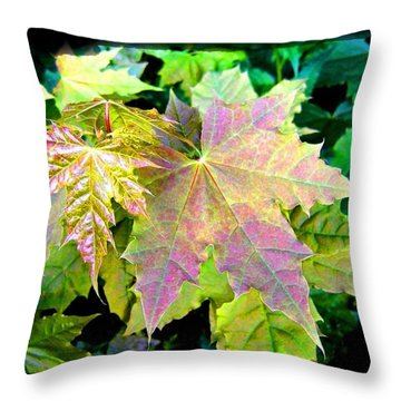 Throw Pillow featuring the mixed media Lush Spring Foliage by Will Borden