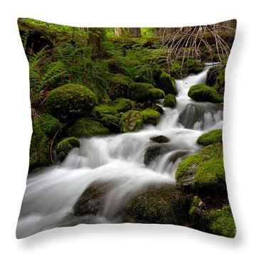 Lush Stream Throw Pillow by Mike Reid