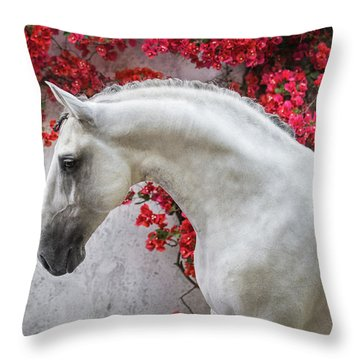 Lusitano Portrait In Red Flowers Throw Pillow