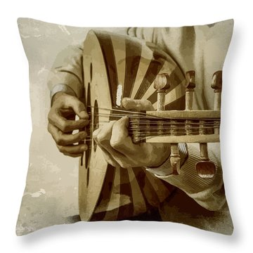 Grey Lutenist Throw Pillow