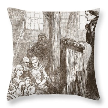 Luther Preaching In The Old Wooden Church At Wittemberg Throw Pillow