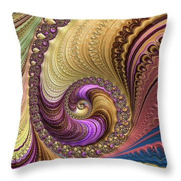 Luxe Colorful Fractal Spiral Throw Pillow by Matthias Hauser