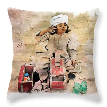 Luxor Shoeshine Girl Throw Pillow