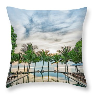 Throw Pillow featuring the photograph Luxury Pool In Paradise by Antony McAulay