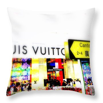 Luxury Shopping For Chinese In Hong Kong  Throw Pillow by Funkpix Photo Hunter