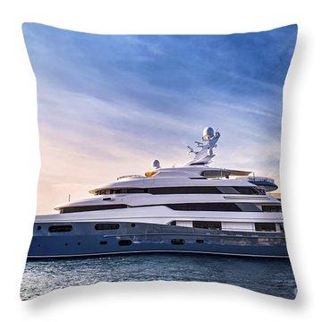 Luxury Yacht Throw Pillow