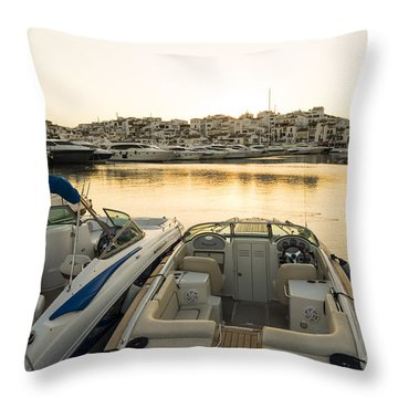 Luxury Yachts Puerto Banus Throw Pillow by Perry Van Munster