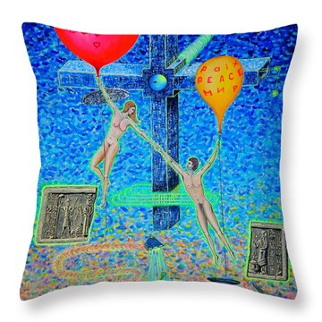 Throw Pillow featuring the painting L.v P. by Viktor Lazarev