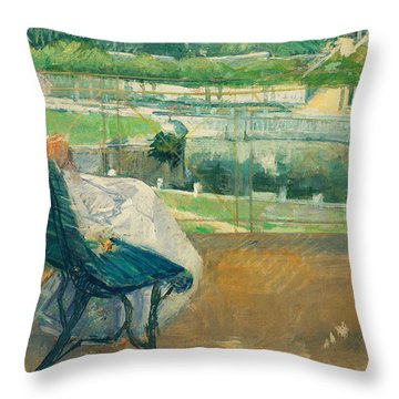 Lydia Seated On A Porch Crocheting Throw Pillow