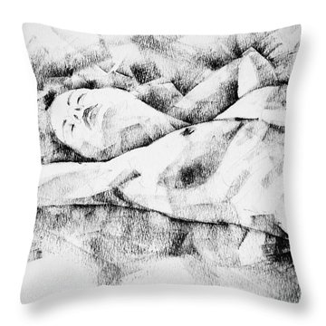 Lying Woman Figure Drawing Throw Pillow