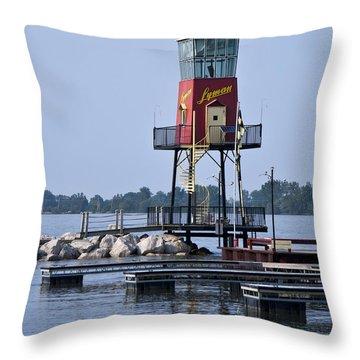 Lyman Harbor Lighthouse Throw Pillow