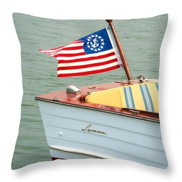 Vintage Mahogany Lyman Runabout Boat With Navy Flag Throw Pillow
