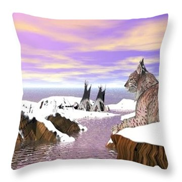 Throw Pillow featuring the digital art Lynx Watcher Render by Darren Cannell