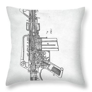 Throw Pillow featuring the digital art M-16 Rifle Patent by Taylan Apukovska