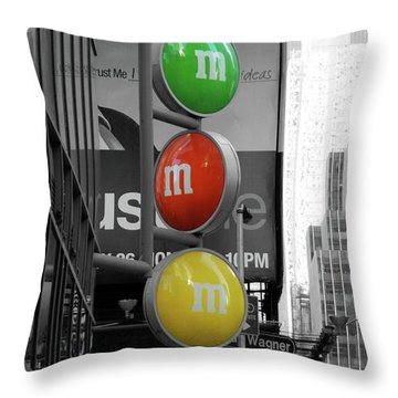 M And Ms In New York City Throw Pillow