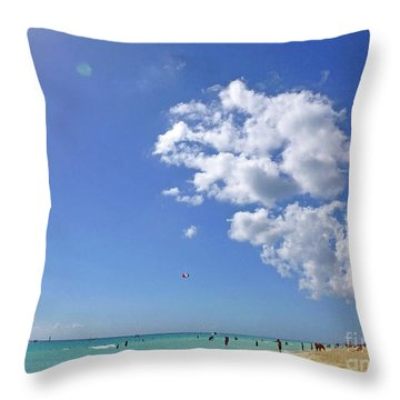 Throw Pillow featuring the digital art M Day At The Beach 2 by Francesca Mackenney